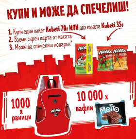 Спечелете 1000 раници и 10000 вафли Motto от Kubeti