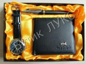 Спечели мъжки комплект от 3 части-портфейл, часовник и химикал